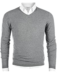 Men's V-Neck Long Sleeve Regular Fit Pullover Cotton Casual Sweater