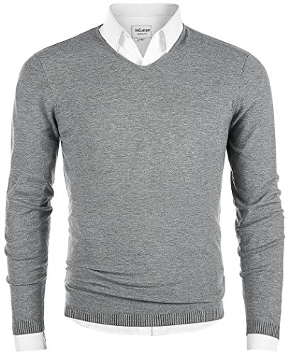 Men's V-Neck Long Sleeve Regular Fit Pullover Cotton Casual Sweater Gray Large