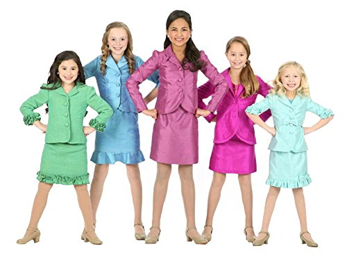 [SISTARS Girls Jacket Skirt Kids Interview Pageant Suits Long Sleeves 8 Yrs Turquoise] (Pageant Suits)