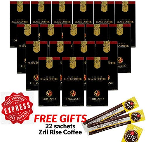 18 Box Organo Gold Gourmet Black Coffee (Exp Nov 2021) with Ganoderma @$15.40/box + Free 22 sachet Zrii Rise Coffee by Express Shipping