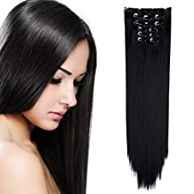 "OneDor 24"" Straight Full Head Clip in Synthetic Hair Extensions 7pcs 140g (1B-off Black)"