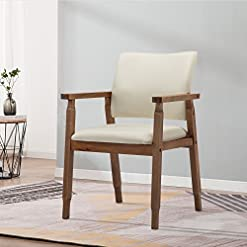 Farmhouse Accent Chairs Mid Century Modern Walnut Dining Chairs Wood Arm Beige Fabric Kitchen Cafe Living Room Decor Furniture farmhouse accent chairs