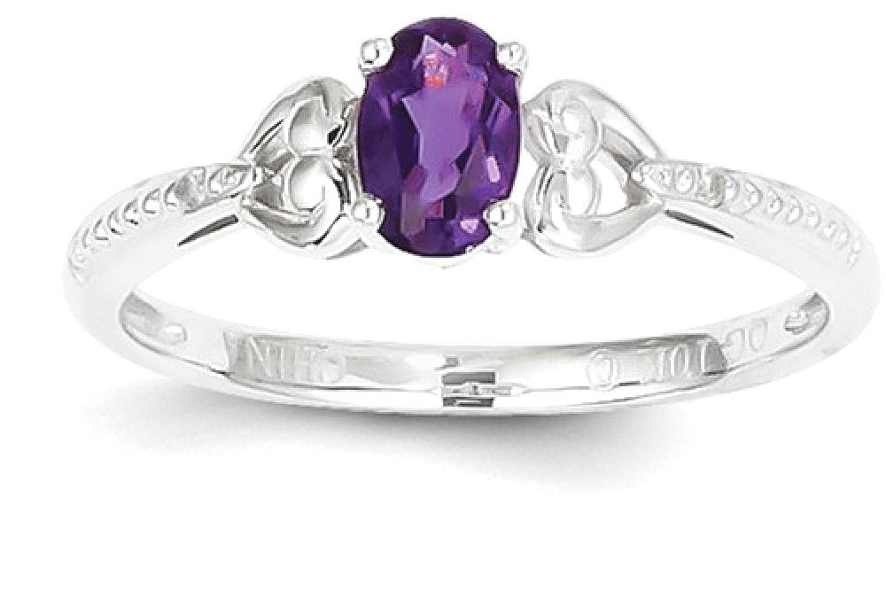 ICE CARATS 10k White Gold Purple Amethyst Diamond Band Ring Size 7.00 Stone Birthstone February Oval Style Fine Jewelry Gift Set For Women Heart
