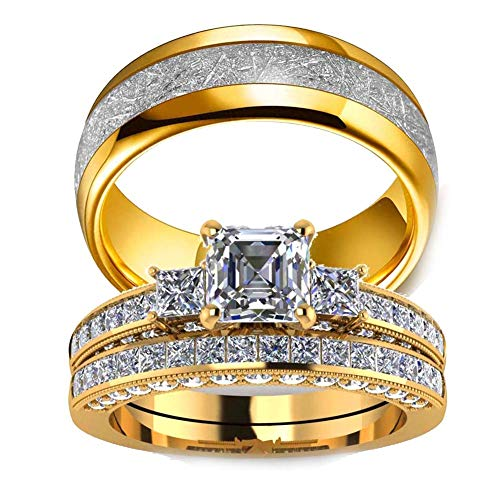 Couple Ring Bridal Set His and Hers Women 10k Yellow Gold Filled Square CZ Men Stainless Steel Band Wedding Ring Band Set