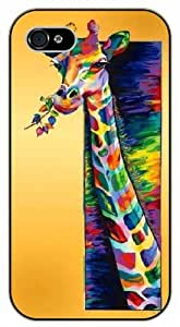 Colorful Giraffe art painting - iPhone 4 / 4S black plastic case / Animals and Nature