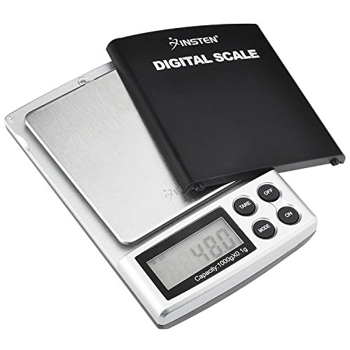 INSTEN Digital Scale for Kitchen Jewelry, Pocket Sized, Refined Accuracy Detail up to 0.1g, (0g to 1000g), Stainless Steel Scale with Backlight LCD Display, Unit g/oz/ozt/DWT/ct, Silver ()