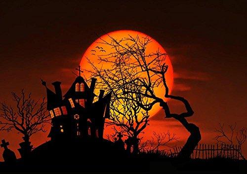 LAMINATED 34x24 Poster: Moon Night Full Moon Gespenstig Mystical Midnight Creepy Atmosphere Cemetery Ghost Castle Weird Gloomy Halloween Scene Dark Magic Tree Silhouette Aesthetic Bats -
