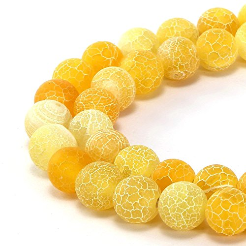 8mm Yellow Frosted Agate Beads Round Loose Gemstone Beads for Jewelry Making Strand 15 Inch (47-50pcs)