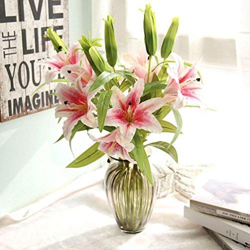 Pink Calla Lilies Stem Long (LtrottedJ Hot Artificial Calla Lily Wedding Bridal Bouquet Fake Flowers, DIY Home Decorh (Pink))