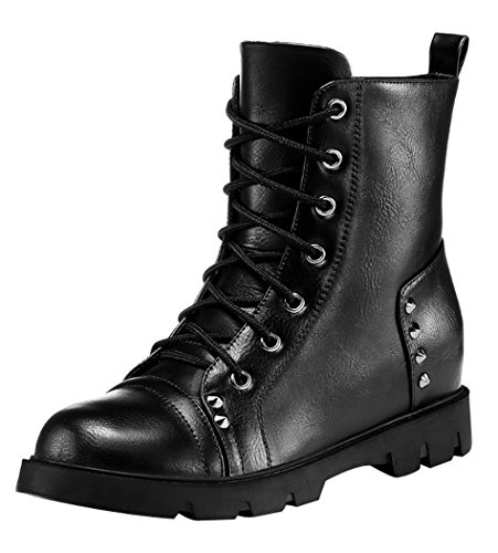 WUXING Women's High-Top Casual Lace Hob-Nail Boots(8.5 B(M)US, black)