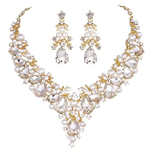 Youfir Bridal Rhinestone Simulated Pearl Necklace Earring Jewelry Set for Brides Wedding Party Dress(Clear-Gold Tone) ()