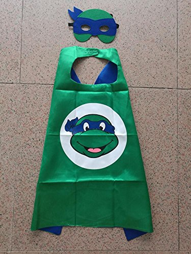 Superhero Halloween Party Cape and Mask Set for Kids 15+ Styles! (Teenage Mutant Ninja Turtles (Adult Cop Belt)