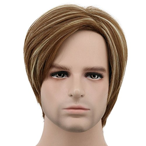 Karlery Mens Short Bob Straight Brown and Blonde Wig Halloween Cosplay Wig Anime Costume Party Wig -