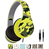 Shrmia Lightweight Over-Ear Wired HiFi Stereo Folding Headphones Workout Style Camouflage Headset with Microphone, 3.5mm Audio Cable