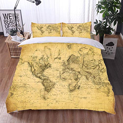 VROSELV-HOME Bedding Sets Duvet Cover Set,Vintage map of The World 1831,Soft,Breathable,Hypoallergenic,Bedspreads Beach Theme Quilt Cover Children Comforter Cover