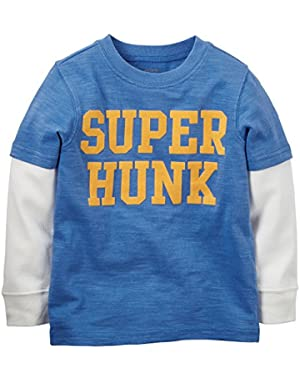 Carter's Little Boys' Layered Tee-Super Hunk (Blue)