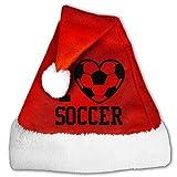 I Love Soccer Christmas Hat Velvet Santa Hat S Size For Kid,M Size For Adult