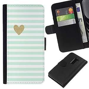 LG G2 / D800 / D802 / D803 / VS980 Modelo colorido cuero carpeta tirón caso cubierta piel Holster Funda protección - Blue White Baby Stripes Pattern Heart