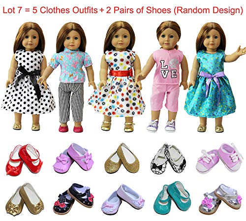 (ZITA ELEMENT American 18 Inch Girl Doll Clothes Outfits Lot 7 = 5 Daily Costumes Clothes + 2 Random Style Shoes for 18