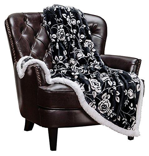 Chanasya Elegant Rose Soft Fleece Reversible Sherpa Throw Blanket - Cozy Classy Chick Elegant Floral Print Velvet Plush Blanket for Bedroom Living Room Couch Bed Sofa - 50