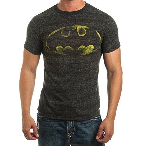 Batman Logo Adult Mens Soft Cotton/Poly Short Sleeve Tee Shirt, Charcoal, Medium ()