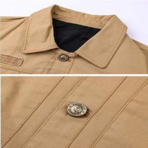 grün Cotone Comode Giacca Uomo In Con Da Bomber Risvolto Autunno Armee Classico Color Taglie tasca Volo Abiti Multi WqqTIRn