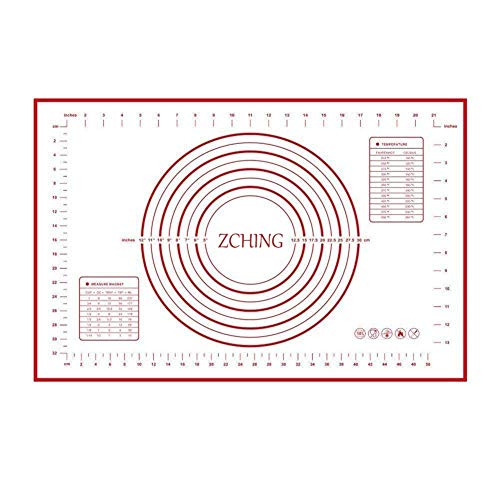 """ZCHING Silicone Pastry Mat with Measurement Not-Slip Rolling Dough Mats for Baking 24"""" x 16"""" (red) -"""