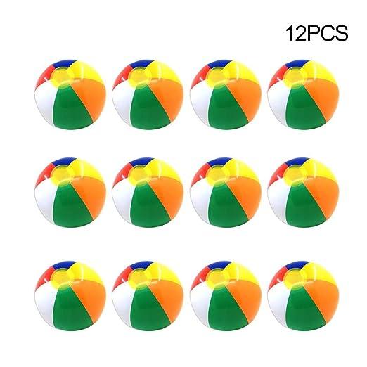 Chifans 12PCS Pelota de Playa Inflable de Seis Colores, niños y ...