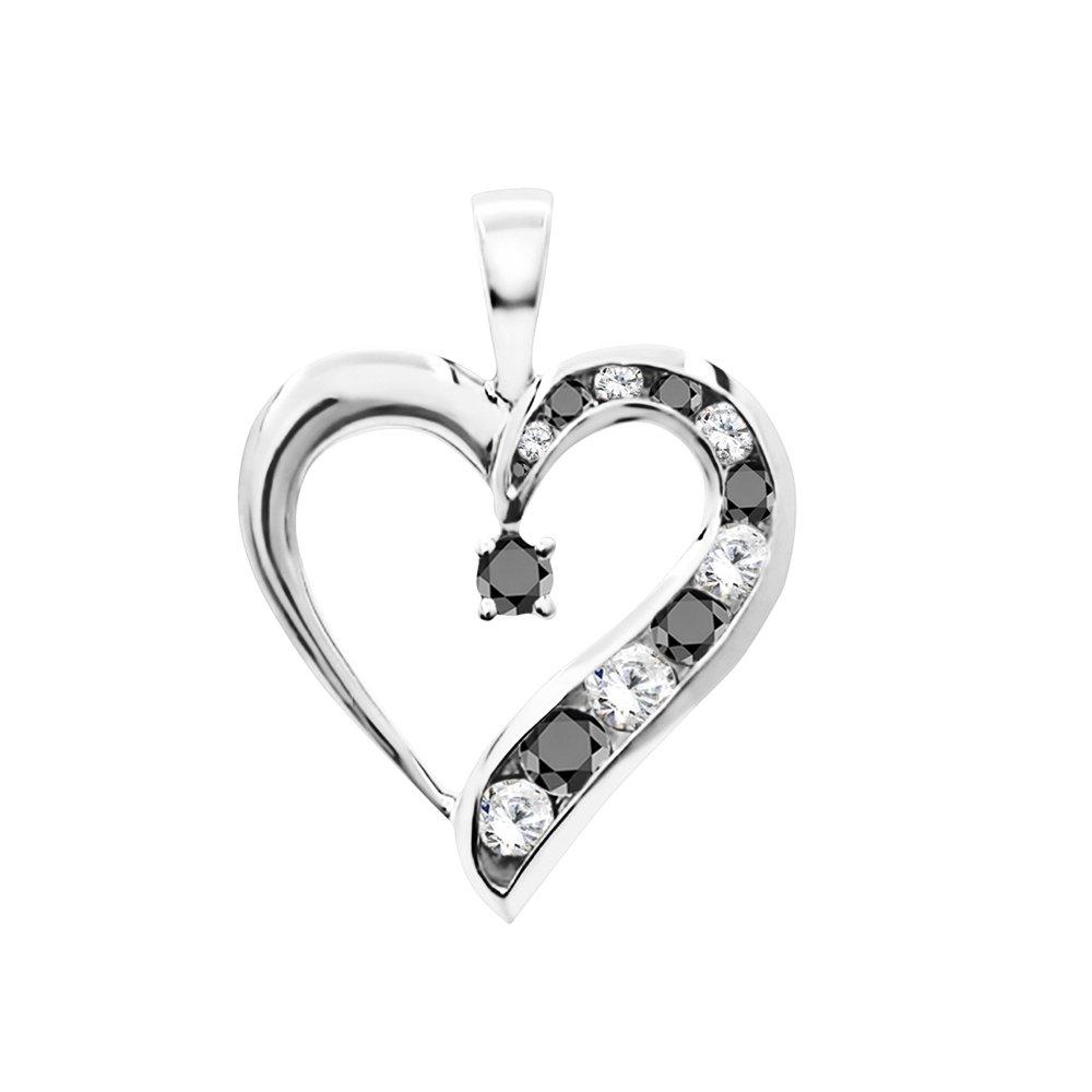0.54 ct 0.54 ct TwoBirch Silver Heart Shaped Pendant Chain Charm Set Black White CZ Black White CZ