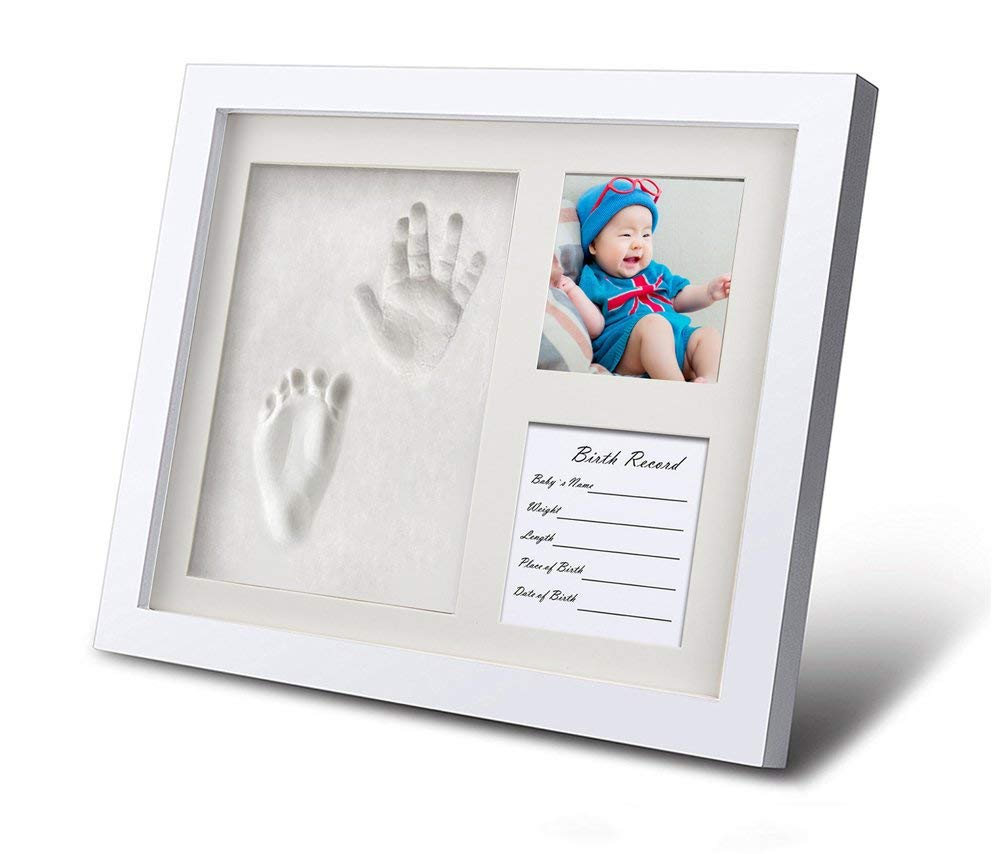 Kricson Footprint Photo Frame, Newborn Baby Handprint Ornament Kit Stamp Pad Baby Hand and Footprint kit Dog No Brake Clay Mold Unique for Family Toddler Grandparents Boy and Girl Room Decor