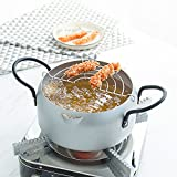 Tempura Fryer Pot, Mini Deep Fry Pan with Drainer Mini Deep frying pan with oil frying pan 8 IN silvery