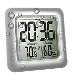 BALDR Digital Shower Bathroom Clock, Large Waterproof Mirror Clock Thermometer Hygrometer Temperature Humidity Gauge, 4 Strong Suction Cup, Big Time Display, Wall Hanging or Table Stand - Silver