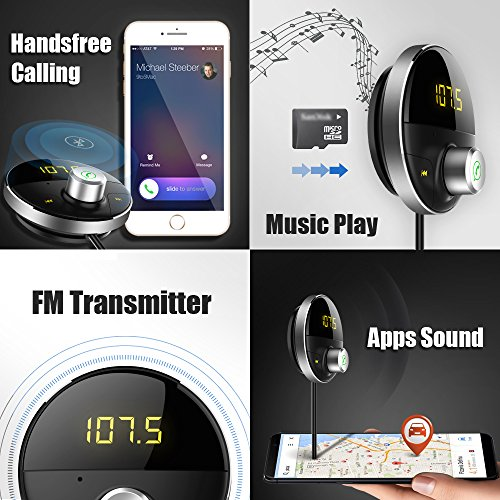 DEEWAZ Bluetooth Receiver Car Kit Built-in Noise Filter 3.5mm Jack Bluetooth Aux FM Transmitter Hands-Free Speaker Dual Usb Car Adapter Wireless Radio Audio & 3M Magnetic Mounts Base (Silver) by DEEWAZ (Image #2)