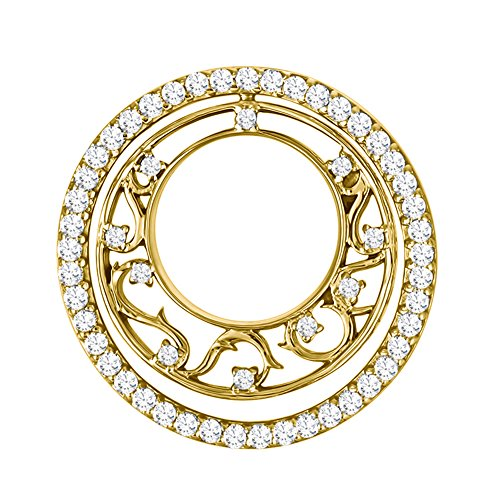 - TwoBirch 14k Yellow Gold 14k Yellow gold Romantic Circle Fashion Pendant with Chain set with Diamonds G-H I1-I2 (0.5 ct. twt.) with Diamonds (0.5 ct. twt.)