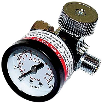 "AES Industries 1/4"" NPT Adjustable Air Regulator with 160 PSI Gauge for Pneumatic Spray Guns and Tools"