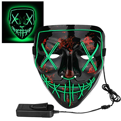 Poptrend Halloween Mask LED Light up Mask for Festival Cosplay Halloween Costume Masquerade Parties,Carnival,Gifts Green