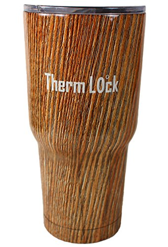 30 oz Tumbler by Therm Lock Stainless Steel Tumbler with Lid that closes and Double Wall Vacuum Insulation a Great Travel Mug and Coffee Cup in Wood Grain Best - Cup Wood