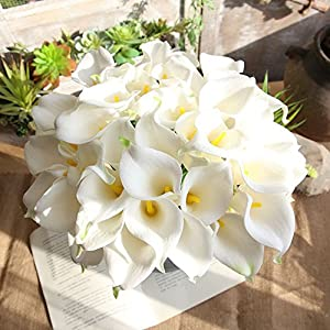 XGao 5pcs Artificial Flowers Fake Flower Simulation Calla Lily Plants Real Touch Silk PU PE Flower Bridal Wedding Bouquet for Vases Home Garden Party Office Decor Wedding Centerpieces Decoration (B) 2