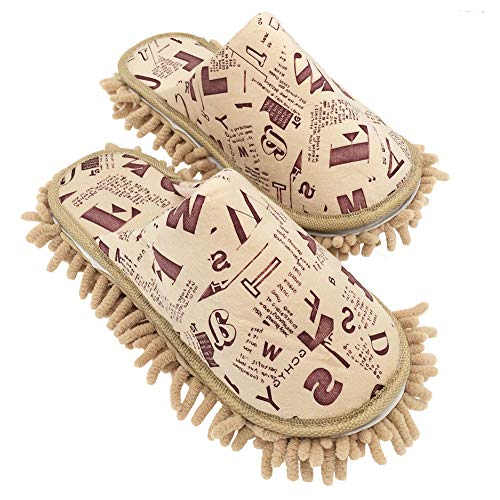 """Price comparison product image Selric Alphabet Letters Microfiber Chenille Washable Mop Slippers Camel,  Detachable Mopping Shoes, Closed Toe Cleaning Shoes Dusting Cleaning Tool 10 1 / 4""""[Size:9.5-10]"""