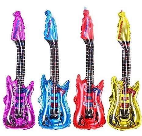 QWhing 4 PCS Guitarra Hinchable Globo de de Aluminio con Las Campanas para la celebración de Boda al Azar: Amazon.es: Hogar