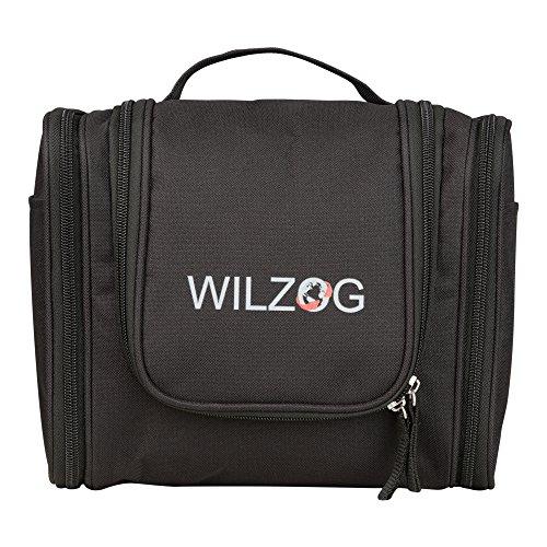 WILZOG Kulturbeutel zum Aufhängen | große multifunktionale Kulturtasche (schwarz)