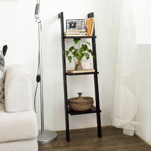 sobuy frg32 sch tagre murale style chelle salle de bain tagre chelle dco meuble de rangement l33xh121xp23cm 3 tages noir amazonfr cuisine - Etagere Echelle Salle De Bain