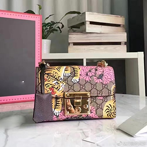 Padlock Women Handbag canvas Shoulder bag Printed package-pink (Canvas Gucci Purse)