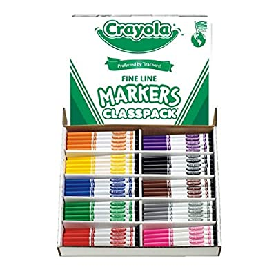 Crayola Classpack Fine Line Markers-Non-Washable Markers, Fine Tip, 10 Colors, 200/BX, AST | Building Toys