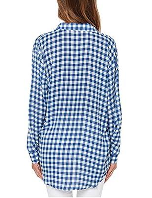 HAOYIHUI Women's Casual Checkered Button-Down Plaid with Pocket Long-Sleeved Basic Shirt