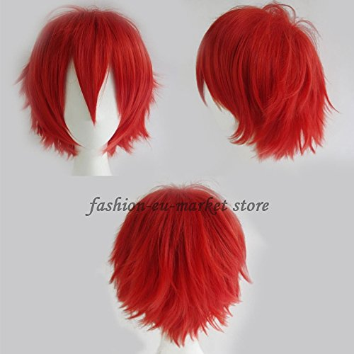 Synthetic Short Straight Fluffy Full Wig Oblique Fringe Curly Hair Tail for Anime Cosplay Costume Party for Men Women 20 Light Deep Colors (red) -