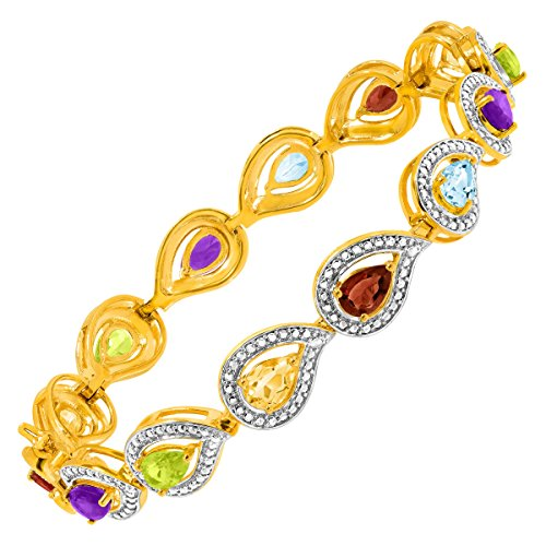 4 7/8 ct Multi Semi-Precious Stone Link Bracelet with Diamonds in 18K Gold-Plated Sterling Silver