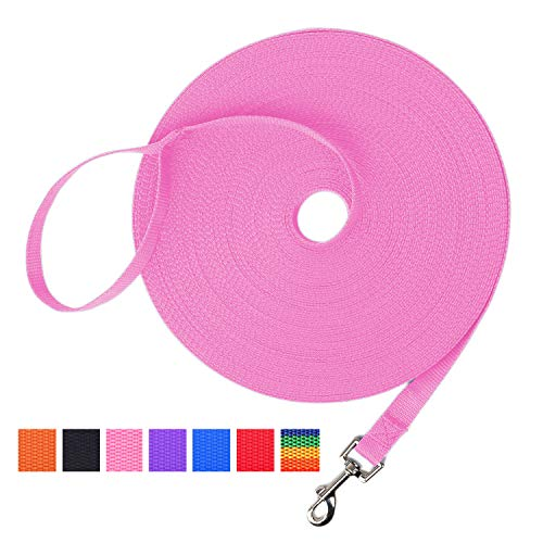 Hi Kiss Dog/Puppy Obedience Recall Training Agility Lead - 15ft 20ft 30ft 50ft 100ft Training Leash - Great for Training, Play, Camping, or Backyard - Pink 100ft