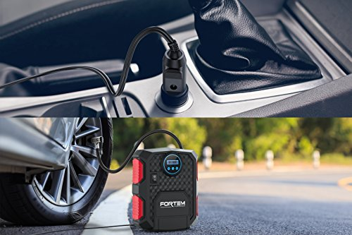 Digital Tire Inflator for Car W/Pressure Portable Electric Auto | Easy Auto by FORTEM - DC 3 Attachments – Carrying Case