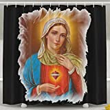HATS NEW Holy Mother Mary Hearts Bath Curtains Waterproof Polyester Fabric Decorative Home Bathroom Shower Curtain (60'' W X 72'' H)